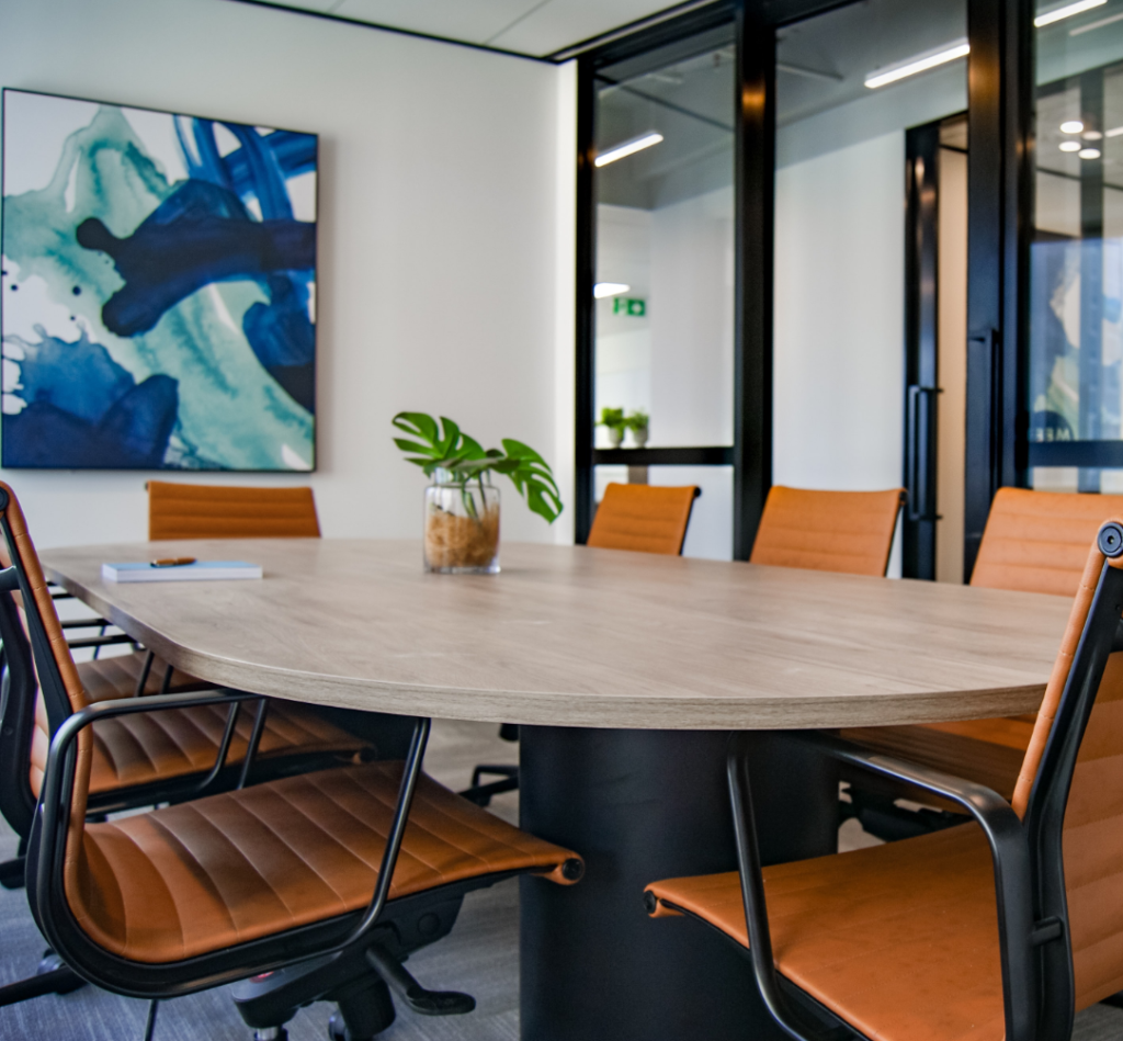 business conference room with tables and chairs