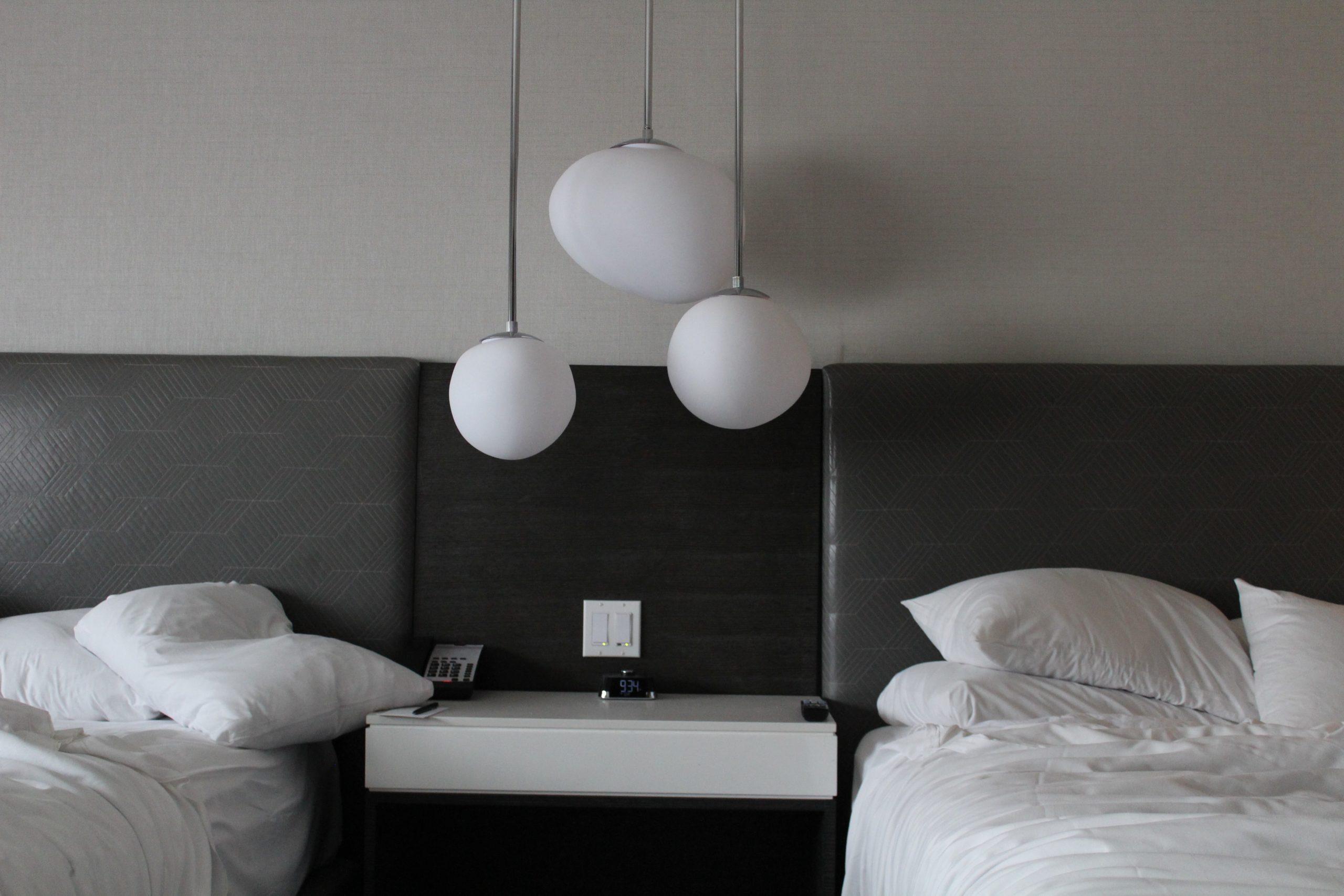 hotel room bedside lighting feature