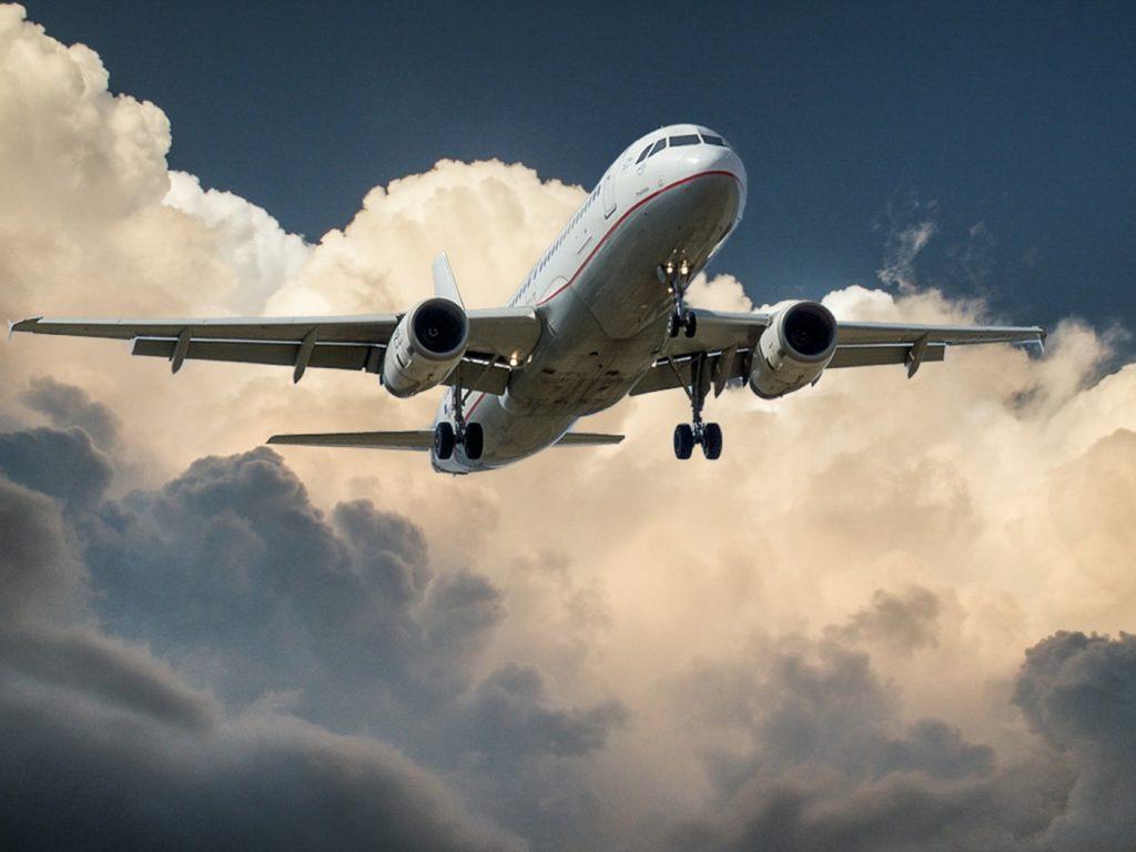 closeup of plane landing