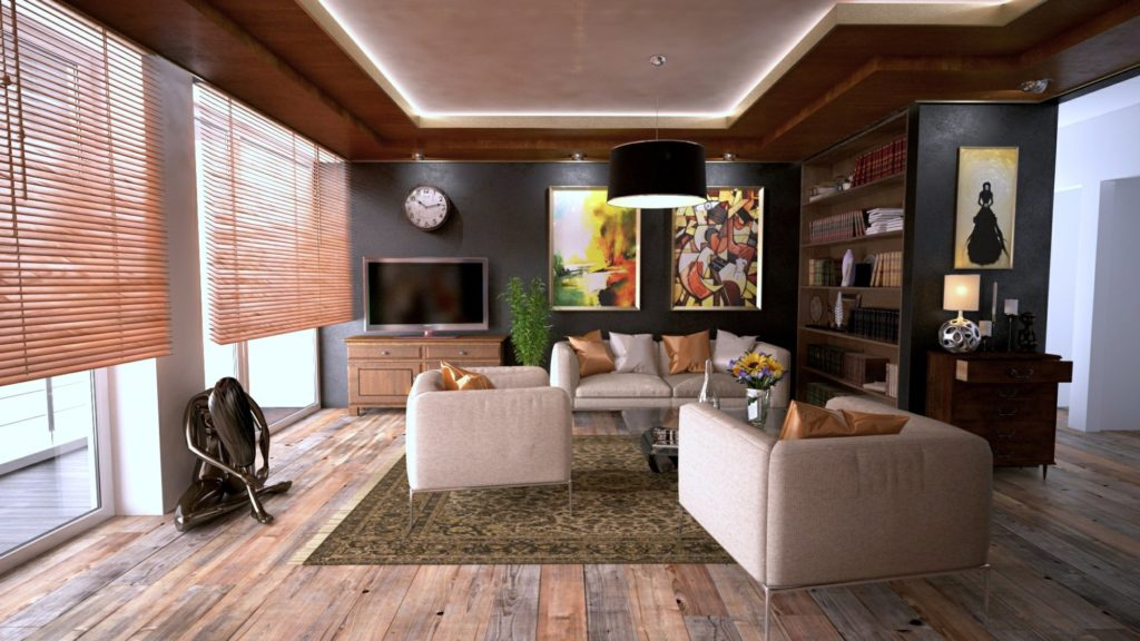 living room with sofas and a television