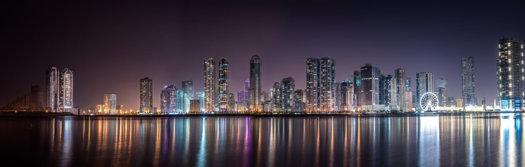 skyline of skyscapers at night