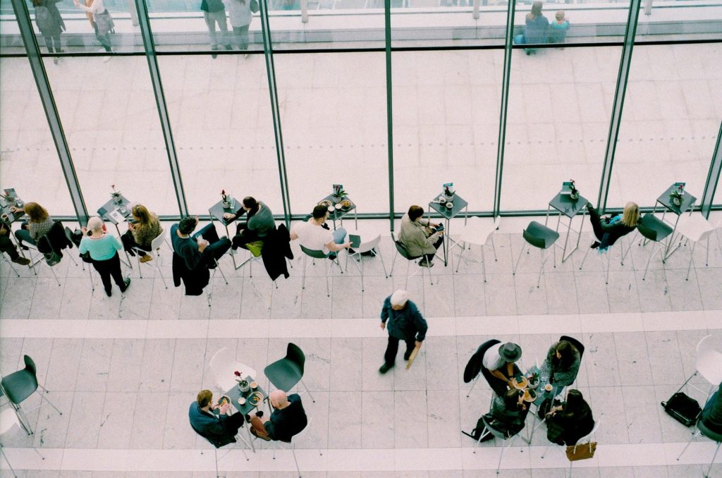 aerial view of people sitting at a cafe