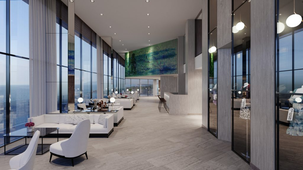 modern designed hotel lobby seating area