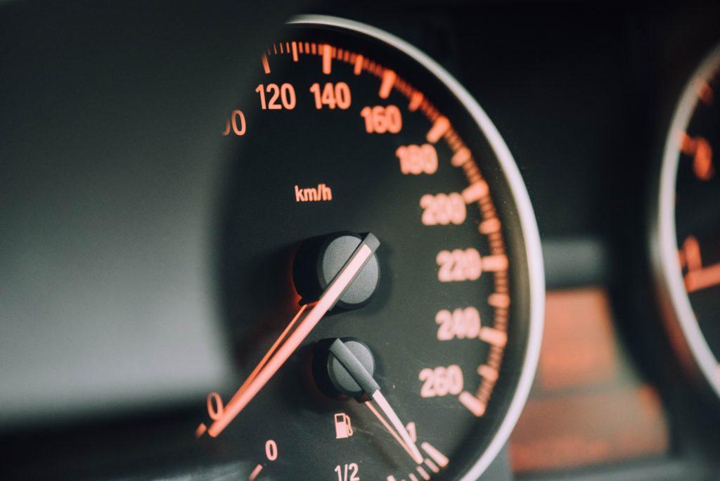 closeup of a speedometer